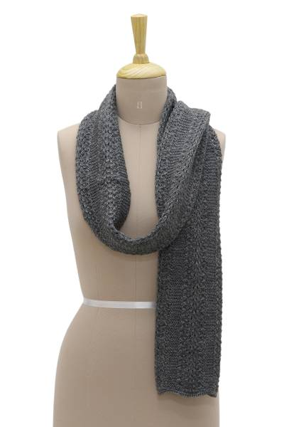Wool blend scarf, 'Himalayan Cascade in Graphite' - Unisex Hand Knit Himalayan Graphite Grey Wool Blend Scarf