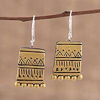 Ceramic dangle earrings, 'Golden Dance' - Gold-Tone Ceramic Dangle Earrings Crafted in India