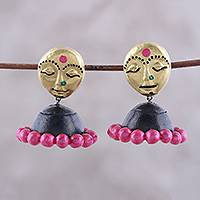Ceramic dangle earrings, 'Golden Ladies' - Hand-Painted Feminine Ceramic Dangle Earrings from India