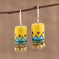 Ceramic dangle earrings, 'Heavenly Drums' - Handcrafted Ceramic Dangle Earrings from India