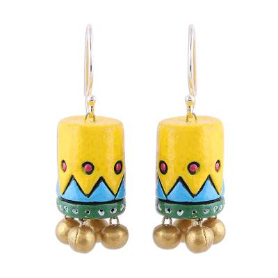 Handcrafted Ceramic Dangle Earrings from India