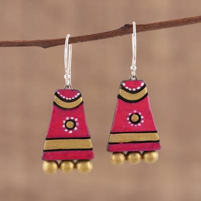 Ceramic dangle earrings, 'Tribal Mounds' - Red Ceramic Dangle Earrings Handcrafted in India