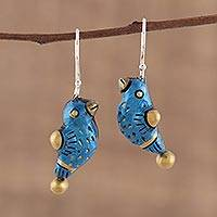 Terracotta dangle earrings, 'Dancing Sparrow' - Hand Crafted Terracotta Blue Bird Earrings from India