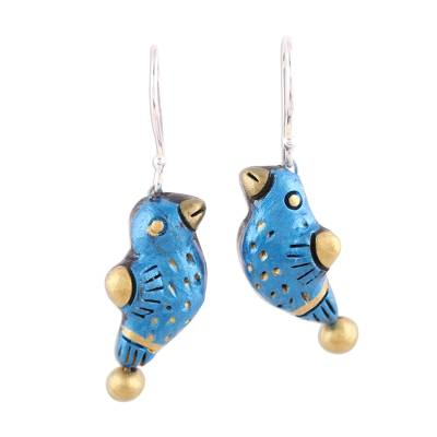 Unique Blue and Gold Bird Terracotta Dangle Earrings