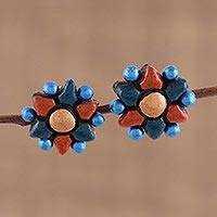 Ceramic button earrings, 'Delightful Flowers' - Flower-Shaped Ceramic Button Earrings Crafted in India