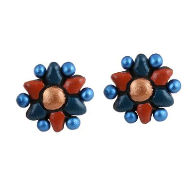 Flower-Shaped Ceramic Button Earrings Crafted in India
