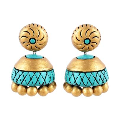 Ceramic Dangle Earrings in Gold and Turquoise from India