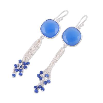 Blue Chalcedony and Sterling Silver Waterfall Earrings