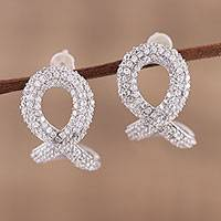Sterling silver button earrings, 'Awe of Infinity' - Sterling Silver and Cubic Zirconia Infinity Button Earrings