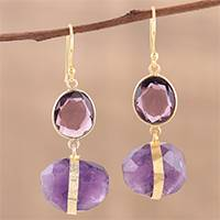 Gold plated amethyst dangle earrings, 'Joyful Royalty' - Handmade 22k Gold Plated Sterling Silver Amethyst Earrings