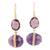 Gold plated amethyst dangle earrings, 'Joyful Royalty' - Handmade 22k Gold Plated Sterling Silver Amethyst Earrings (image 2a) thumbail