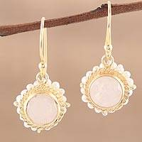 Gold plated rainbow moonstone and cultured pearl dangle earrings, 'White Harmony' - 22k Gold Plated Rainbow Moonstone Cultured Pearl Earrings