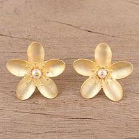 Gold plated cultured pearl button earrings, 'Golden Plume' - Cultured Pearl 22k Gold Plated Sterling Silver Earrings