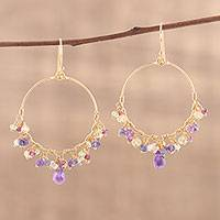 Featured review for Gold plated multi-gemstone chandelier earrings, Vibrant Shimmer
