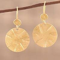 Gold plated sterling silver dangle earrings, 'Lustrous Discus' - Handmade 22k Gold Plated Sterling Silver Disc Shape Earrings