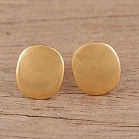 Gold plated sterling silver stud earrings, 'Vibrant Buttons' - Handmade 22k Gold Plated Sterling Silver Stud Earrings