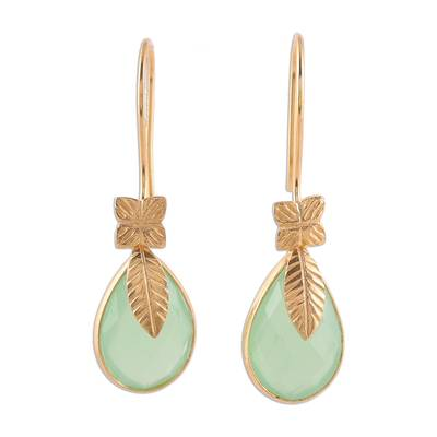 Handmade Gold Plated Chalcedony Dangle Earrings