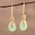 Gold plated chalcedony dangle earrings, 'Garden Glory' - Handmade 22k Gold Plated Chalcedony Dangle Earrings (image 2b) thumbail