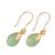 Gold plated chalcedony dangle earrings, 'Garden Glory' - Handmade 22k Gold Plated Chalcedony Dangle Earrings (image 2c) thumbail