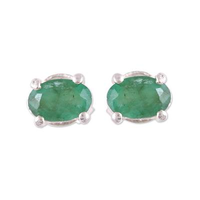 Faceted Green Oval Emerald Sterling Silver Stud Earrings