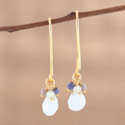 Gold plated chalcedony and lapis dangle earrings, 'Beautiful Grace' - Lapis and Chalcedony 22k Gold Plated 925 Silver Earrings