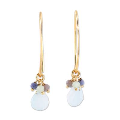 Lapis and Chalcedony 22k Gold Plated 925 Silver Earrings