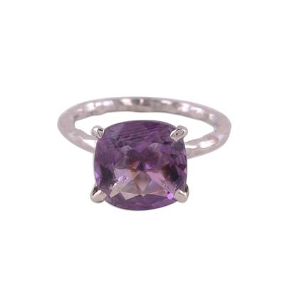 Rhodium Plated Amethyst Single-Stone Ring from India