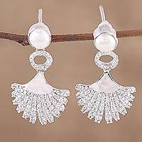 Rhodium plated cultured pearl dangle earrings, 'Glittering Glamour' - Rhodium Plated Cultured Pearl Dangle Earrings from India