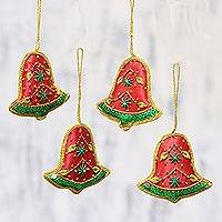 Beaded ornaments, 'Vibrant Bells' (set of 4) - Set of Four Red Green Sequin Beaded Holiday Bell Ornaments