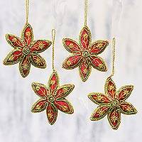 Beaded ornaments, 'Red Stars' (set of 4)