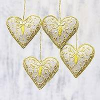 Beaded ornaments, 'Cheery Hearts' (set of 4) - Set of Four White Gold Beaded Holiday Heart Ornaments