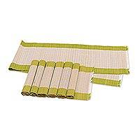 Reed table runner and placemats, 'Reed Feast in Chartreuse' (set of 6) - Chartreuse Reed Table Runner and Placemats Set of 6