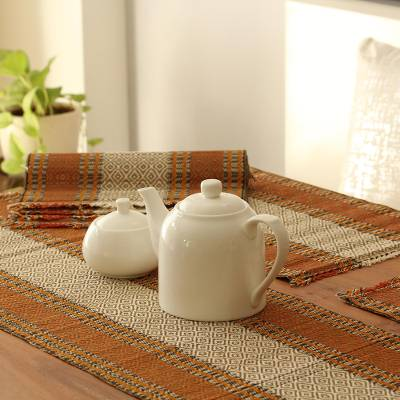 Handmade Orange Reed Table Runner And Placemats Set Of 6 Reed