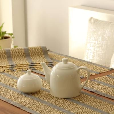 Handmade Grey Reed Table Runner And Placemats Set Of 6 Reed Feast