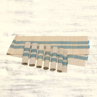 Handmade Blue Reed Table Runner And Placemats Set Of 6 Reed Feast