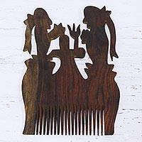Wood decorative comb, 'Prayer Trio' - Shiva Theme Handmade Acacia Wood Decorative Comb