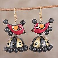 Ceramic dangle earrings, 'Chirpy Birds' - Hand-Painted Chirping Birds Ceramic Jhumka Earrings