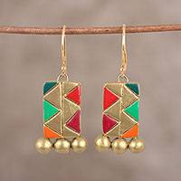 Ceramic dangle earrings, 'Colorful Peaks' - Hand-Painted Zigzag Mountain Terracotta Dangle Earrings