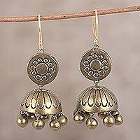 Ceramic dangle earrings, 'Gold Sun' - Hand-Painted Ceramic Terracotta Golden Sun Jhumka Earrings