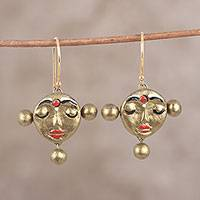 Ceramic dangle earrings, 'Calm Lady' - Hand-Painted Golden Serene Face Ceramic Dangle Earrings