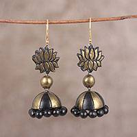 Ceramic dangle earrings, 'Flowering Lotus' - Hand-Painted Black and Gold Ceramic Jhumka Lotus Earrings