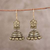 Ceramic dangle earrings, 'Golden Ganesha' - Hand-Painted Golden Lord Ganesha Ceramic Jhumka Earrings