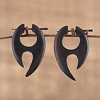 Ebony wood drop earrings, 'Archer' - Hand Carved Ebony Wood Abstract Curved Earrings