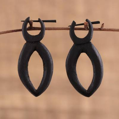 Ebony wood drop earrings, 'Nexus' - Hand Carved Ebony Wood Pointed Ellipse Drop Earrings