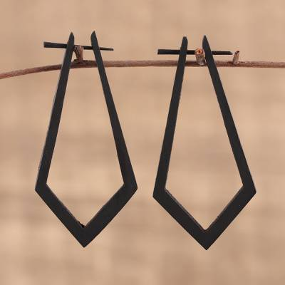 Ebony wood hoop earrings, 'Angle Drama' - Hand Carved Ebony Wood Elongated Angular Hoop Earrings