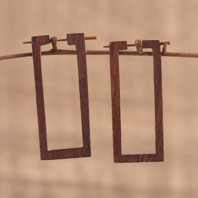 Ebony wood hoop earrings, 'Open Window' - Hand Carved Ebony Wood Rectangular Hoop Earrings