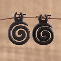 Ebony wood drop earrings, 'Tribal Twist' - Hand Carved Spiral Ebony Wood Drop Earrings