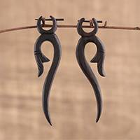 Ebony wood drop earrings, 'Nodding Bloom' - Hand Carved Ebony Wood Flower and Vine Drop Earrings