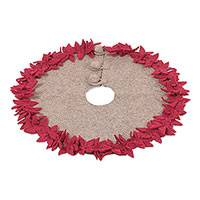 Wool felt tree skirt, 'Burgundy Poinsettias' - Floral Wool Felt Tree Skirt in Burgundy from India