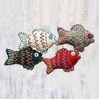 Wool ornaments, 'Festive Fish' (set of 4) - Set of Four Colorful Wool Fish Ornaments from India